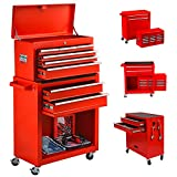 8-Drawer Big Rolling Tool Chest Organizers, Removable Tool Storage Cabinet and Top Chest with Drawers and Lock, Portable Tool Box with Wheels for Warehouse,Garage,Repair Shop (Red)