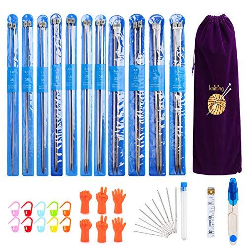 Brynnl 11 Paare Stricknadeln Edelstahl, Professionelle 25cm Stricknadeln Set Handarbeit Knitting Needles in Verschiedenen Größen (2mm - 8mm) mit Schere, nähnadeln, Maßband und eine schicke Tasche