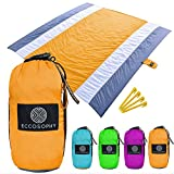 ECCOSOPHY Sandproof Beach Blanket - Oversized Sand Free Beach Mat 9'x10' - Lightweight Outdoor Mat - Double Anchored with 4 Corner Sand Pockets & Plastic Stakes - Heat Proof, Quick Drying & Compact
