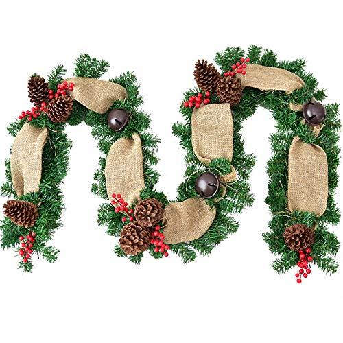 NCBH Boog Kerstmis Bloem Wijnstok, Linnen Bell Rattan 106In Kerst Decoraties Geschikt voor Familie Hotel Winkelcentrum Kast Deuren En Ramen Wijnstok