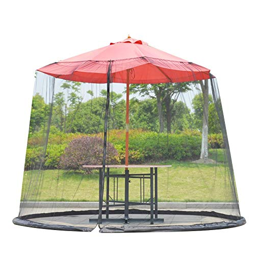 HoneybeeLY Outdoor Garden Umbrella Table Screen Parasol Mosquito Net Cover Bug Netting Cover, Parasol Converter Cover Turn Your Parasol into a Gazebo (9-10ft)