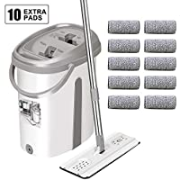Tsmine Floor Mop Bucket Hand-Free Wringing Floor Cleaning Mop with 10 Reusable Microfiber Mop Pads