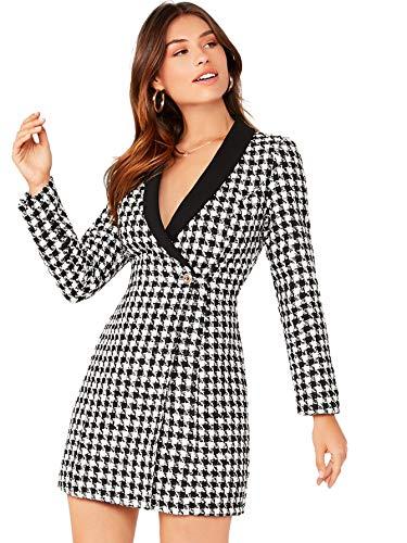 Floerns Women's Plaid Shawl Collar Button Front Longline Tweed Blazer Dress White Black S