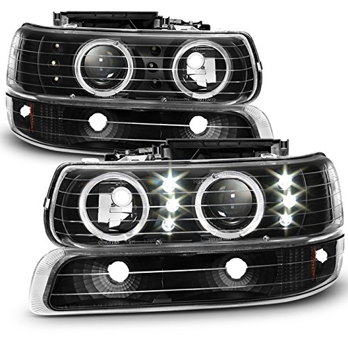 For [Dual Halo Ring] 1999-2002 Chevy Silverado 2003-2006 Suburban/Tahoe Projector Headlights + Corner Bumper Lamp Set