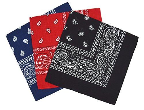 Bandanas paisley lot de 3 – Bandeau Foulard coton motif cachemire, accessoire cheveux tendance