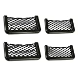 ORYOUGO 4 Pieces Car Side Black Storage Net Elastic Nylon Mesh Seat Back Pocket Phone Map Cash Holder, S+L