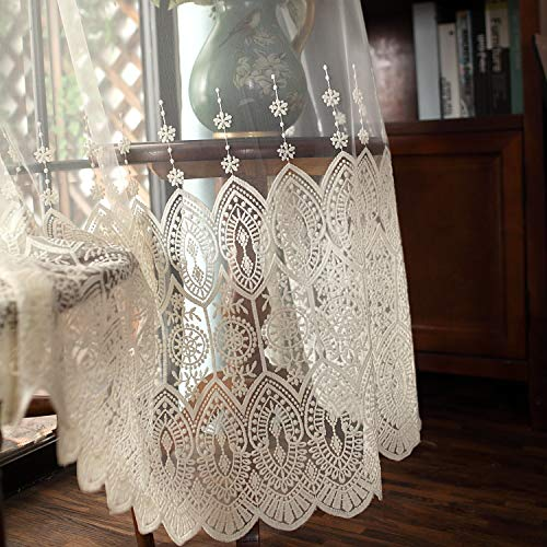 French Country Embroidery Sheer Voile Curtain Panel Drape Tulle Voile Sheer Curtain Lace Rod Pocket (W52 x L84 inch)