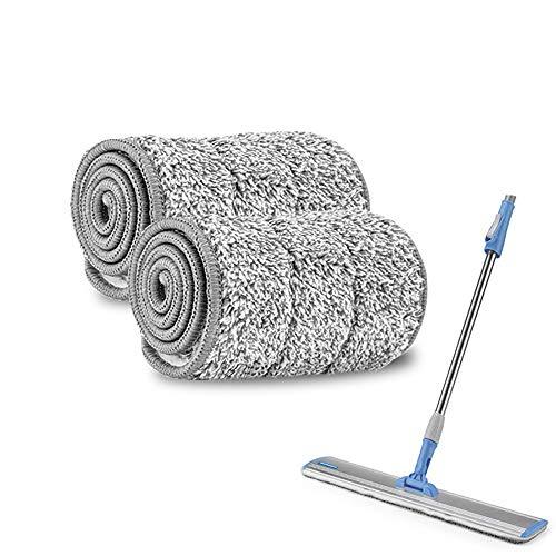 Mopa profesional de microfibra, 2 unidades, 43 cm/62 cm, para suelos de piedra y baldosas, ideal para parqué, laminado y corcho