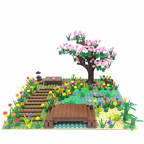 xSuper Sakura - Juego de construcción de árboles con peces, Hen, perro, 300 piezas de bonsai de flor de cerezo con placa base, kit educativo para niños y adultos, compatible con Lego
