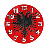 RTYUI Grunge Albania Bandiere Nazionali Numero Orologio Moderno Muto Fai da Te Senza Cornice Grande Orologio da Parete Ottimo per Qualsiasi Stanza in Casa Sala da Pranzo Cucina Ufficio Scuola