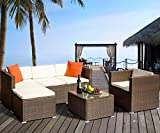 Herman Rattan Wicker Cushioned Sectional Furniture Garden Patio Sofa Set, (4 Pieces, Brown)