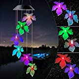 JOBOSI Black Cover Solar Maple Leaf Wind Chimes Outdoor Gifts for Mom Gift Windchime Windchimes Garden Decorations Outdoor Patio Decorations Outdoor with S Hook Hooks Indoor and Outdoor Wind Chimes