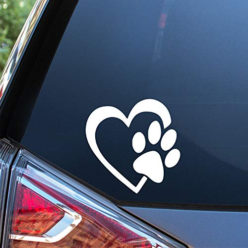 Sunset Graphics & Decals Heart with Dog Paw Decal Vinyl Car Sticker | Cars Trucks Vans Walls Laptop | White | 4 Inch | SGD000058