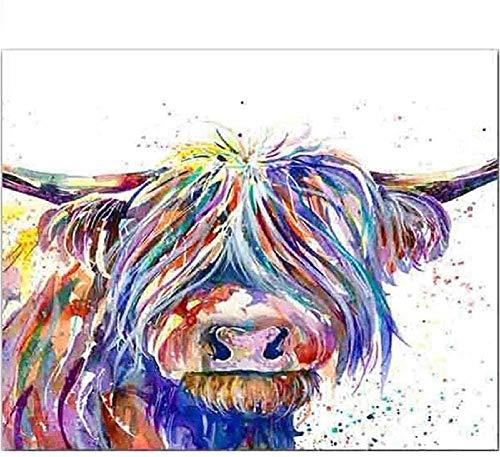 Kit de punto de cruz de bricolaje color vaca de las tierras altas 11CT kit de impresión patrón de impresión manualidades de bordado de tela 16x20 pulgadas