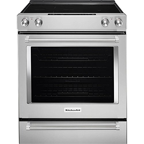 KITCHENAID KSEG700ESS 30-Inch 5-Element Electric Slide-In True Convection Range, Aqualift Self Cleaning, Roller Rack, Steam Rack, Glass Controls