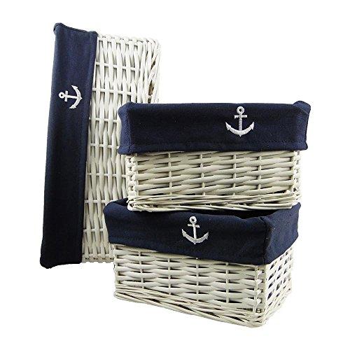 3er Set Brotkorb aus weißem Geflecht mit blauem Stoffeinsatz mit besticktem Anker-Motiv für den maritimen Einsatz in Küche, Balkon, Terrasse oer Garten - oder einfach zur Aufbewahrung