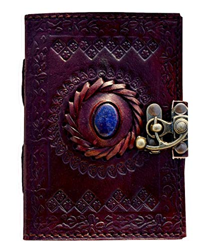 Stone Leather Journal for Men Writing Vintage Bound Embossed Brown Book of Shadow Celtic Blank Notebook Witch Spell Gothic Unlined spellbook Personal Note Lock Closer Books 5 x 3.5 inch