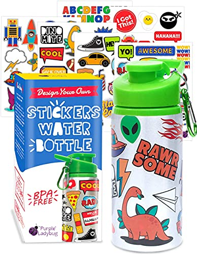Purple Ladybug Decorate Your Own Kids Water Bottle for Boys Craft Kit with Tons of Cool Trendy Stickers - BPA Free, Great Birthday, Holiday, or Halloween Gifts for Kids, Fun DIY Arts & Crafts Activity