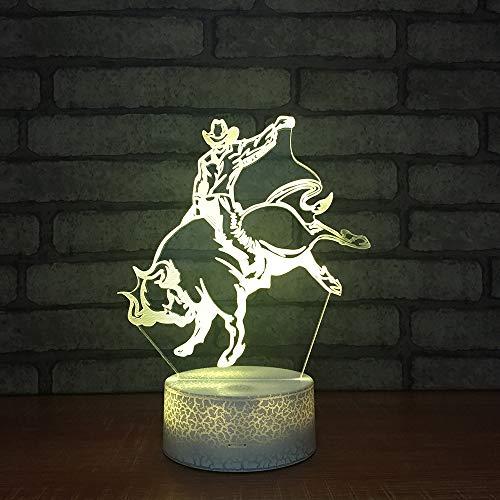 WJHXYD lamp voor visuele illusie, 3D, wisselende nachtlampen voor de kunst acryl LED slaapkamer decoratie huis paardrijden