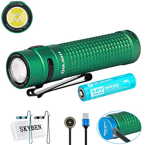 SKYBEN Olight S2R II 1150 Lumens Magnetic Rechargeable Variable Output Side Switch LED Flashlight,with 18650 Battery Battery Case (Green)