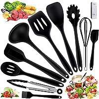 utensili da cucina in silicone -10 pezzi, utensili da cucina resistenti al calore antiaderenti da cucina(spatola, cucchiaio scanalato, forchetta per pasta, paletta, pinza, frusta, pennello)