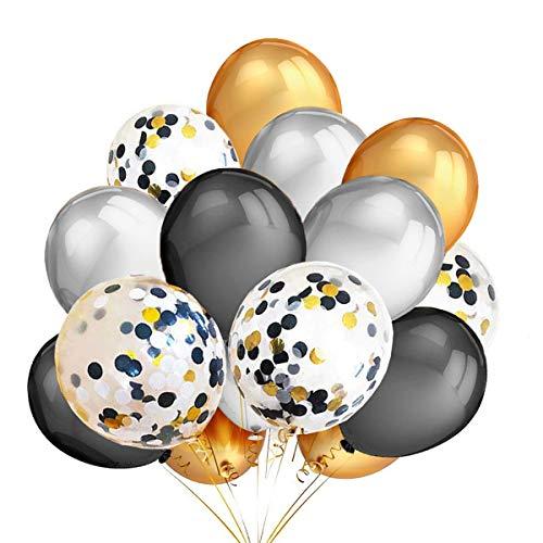 JYOHEY 40 Stück Halloween Deko Luftballoons Schwarz Gold Silber Konfetti Luftballons Geeignet Für Helium und Luft Halloween Party Dekoration