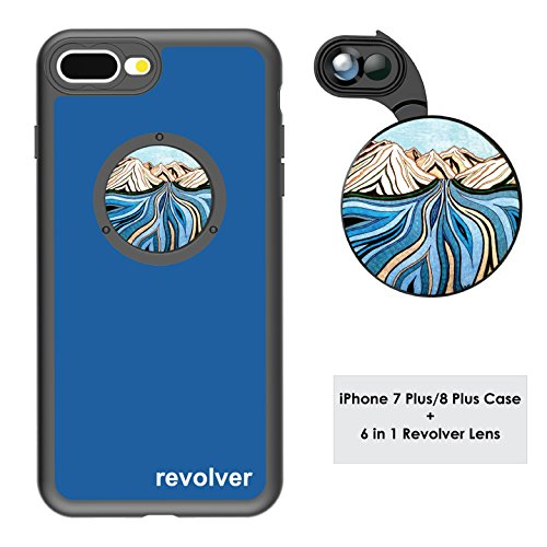 Ztylus Designer Revolver M Series Camera Kit: 6 in 1 Lens with Case for iPhone 7 Plus / 8 Plus - 2X Telephoto Lens, Macro, Super Macro Lens, Wide Angle Lens (Glacial River Blue)