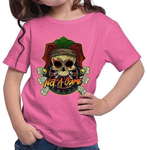HARIZ Mädchen T-Shirt Not A Game Totenkopf Hut Dart Darten Dartscheibe WM Inkl. Geschenk Karte Pink 104/3-4 Jahre