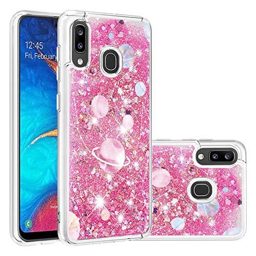 Miagon Flüssig Hülle für Samsung Galaxy A40,Glitzer Treibsand Handyhülle Glitter Quicksand Schutzhülle Bumper Case Cover,Galaxis