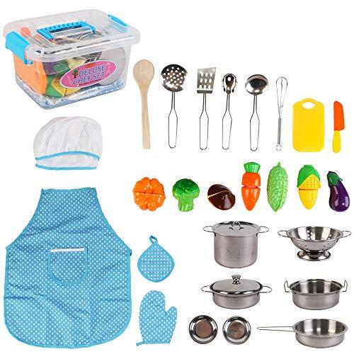 deAO Set Utensili da Cucina e Cibo Giocattolo - Set di Pentole e Padelle di Imitazione Accessori da Cucina per Bambini (26 Pezzi)
