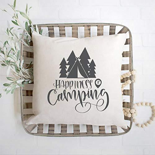 DONL9BAUER Happiness Is Camping - Funda de almohada de alta calidad, diseño de carpa, bosque, bosque, bosque, carpa o carpa decorativa para el hogar, dormitorio, sofá, sala de estar, coche.