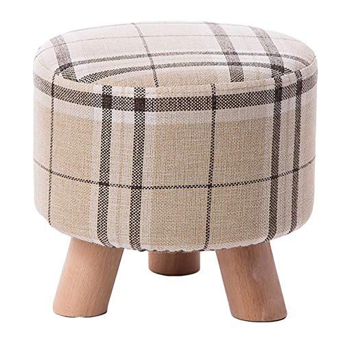 JXJ Taburete tapizado otomano reposapiés puf, tela acolchada de madera maciza engrosada Foots herramienta plegable asiento taburete-c 28 x 28 x 25 cm