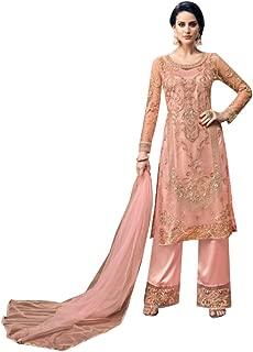 Pink Indian Pakistani Net Pants Salwar Kameez Muslim Festival Eid Suit Semis Stitched 19