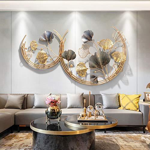 Décoration Murale en métal Rond Feuille de Ginkgo décoration Murale Fond doré pour décor de Salle de Bain, décor de Chambre à Coucher, décoration Murale, 110 * 67cm