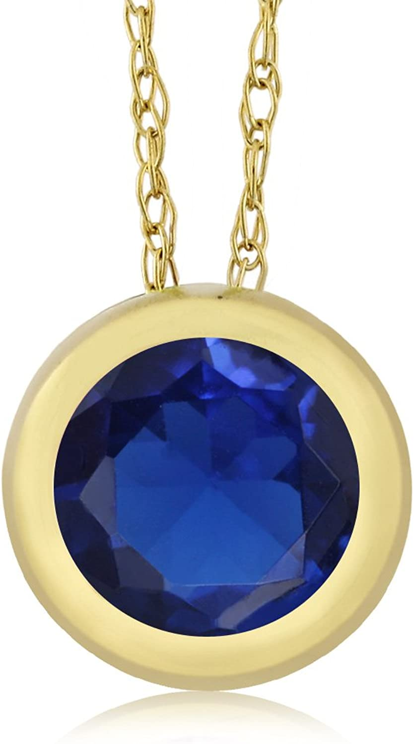 0.85 Ct Round bluee Zirconia 14K Yellow gold Pendant With Chain