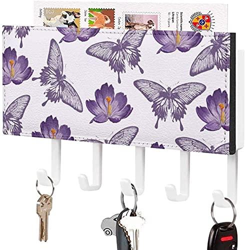 Soporte para llaves para gancho de pared, mariposa monarca negra acuarela, mariposa reina, soporte para correo de entrada a la pared, organizador de llaves decorativo con 5 ganchos, patrón blanco