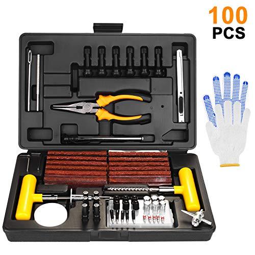 SHYOSUCCE 100pcs Kit de Reparación de Neumáticos con Manómetro y Guantes, Kit Repara Pinchazos para Autos, Bicicletas, Motos, Tractores, Camiones