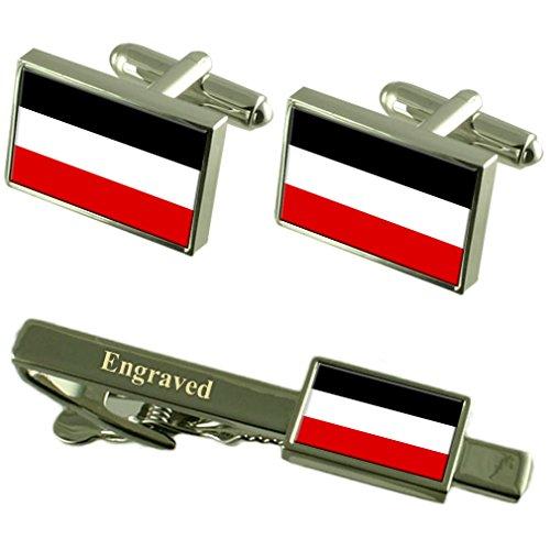 Select Gifts Reich alte Militairy Deutschland Fahne Manschettenknöpfe graviert Krawattenklammer