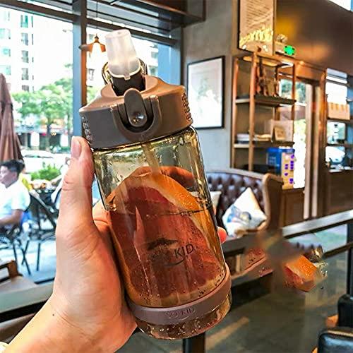 Botella de agua para estudiantes con tapa de paja Botellas de agua para niños y niñas para la escuela Botella para beber al aire libre 500/700/800 ml-Estados Unidos, 800 ml, café