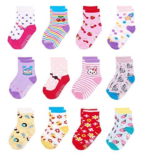 Yafane 12 Pares de Calcetines Antideslizantes para Niños Pequeños Algodón Lindo con Puños Calcetines Antideslizantes para Bebés (Niñas, 3-5 años)
