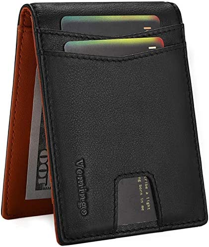 Vemingo Minimalist Wallets for Men with Anti theft RFID Blocking Genuine Leather Money Clip product image