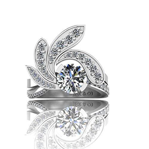 Jbr - Anillo de plata de ley S925 de corte redondo brillante para mujer, anillo de promesa de aniversario