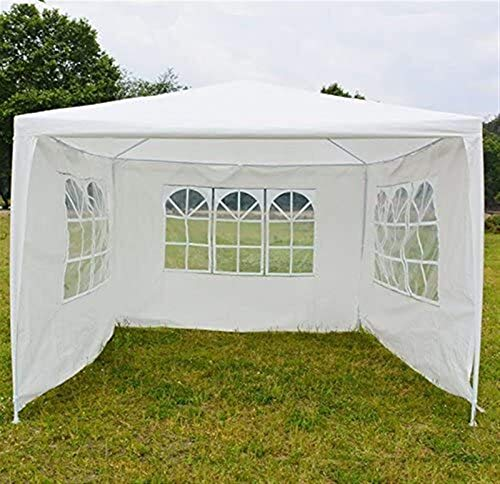 Plztou 3X3M Outdoor Garden Gazebo Canopy Party Wedding Tent Shelter, 4 Removable Side Panels, Waterproof Marquee Awning Shade, UK Stock(White) (Size : 3x3m gazebo)