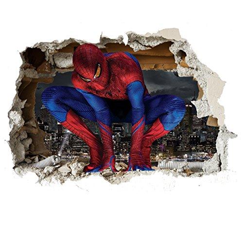 Customise4U 3D Spiderman Wand-Zertrümmern Kinder Wandaufkleber Wandüber Wall Art Wand Tattoo (3D Spiderman Smash 70cm)