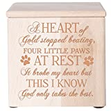 Cremation Urns for Pets SMALL Memorial Keepsake box for Dogs and Cats, Urn for pet ashes A heart of gold stopped beating four little paws at rest Holds SMALL portion of ashes (Natural)