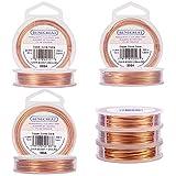 BENECREAT 0.6mm/0.8mm/1mm Alambre de Cobre Cable Metal Alambre de Joyería para Manualidad Color de Cobre Calibre 18/20/22, 3 Rollos