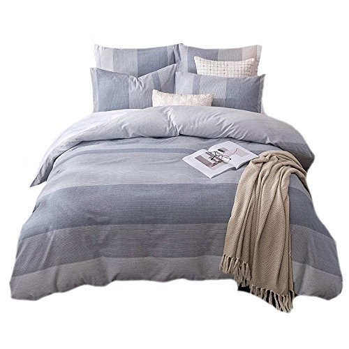 UMI. Essentials 100% Cotton Yarn Dyed Duvet Cover Set with Two Pillow Cases,Double