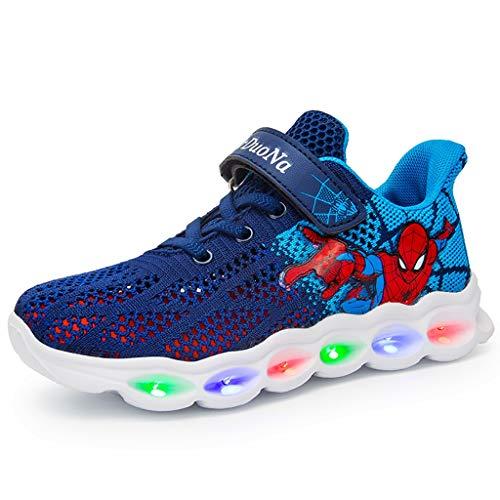 LXJL Zapatillas para niños con LED Luminoso, Zapatillas para bebés y niños pequeños Zapatillas para niños Spiderman Outdoor,a,26