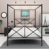 Canopy Bed Frame Metal 4-Post Canopy Queen Size Bed Cozy Bedroom with Headboard and Footboard Best Choice Products Reinforced Lron Frame Bed Good Installation Black