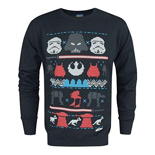 Star Wars Dark Side Fair Isle - Pull de Noël Bleu Marine pour Homme